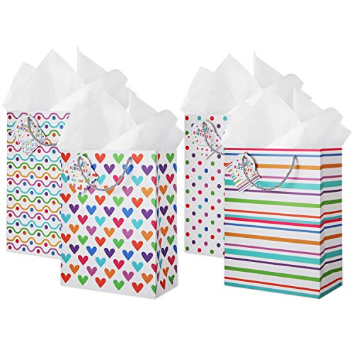 - Large Gift Bags with Tissue Paper: (4 Pack) Assorted 4 Designs Gift Bag Set with Card and Happy Birthday Tag, Use as Gift Wrapping Bags, Valentines Day Present, Birthday Bags, Big Gift Bags for Gifts