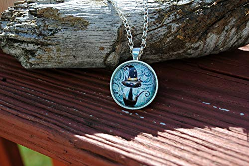 Halloween Black Cat with Witch Hat Glass Dome Circle Pendant Necklace Jewelry 24 Inch Chain for $<!--$12.99-->