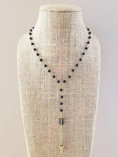 Gold Arrowhead Charm Lariat Choker Rosary Black Bead Onyx Stone Adjustable Gold Black