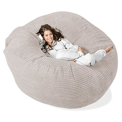 LOUNGE PUG – MEGA MAMMOTH Beanbag IVORY Cord – MASSIVE XXL size - ideal for Bedrooms, home and gaming