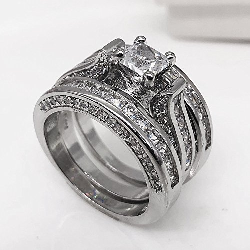 Haluoo Womens 3-in-1Vintage White Diamond Silver Engagement Wedding Band Ring Set Square Brilliant Cubic Zirconia Promise Rings Bridal Sets Jewelry (7, Silver)