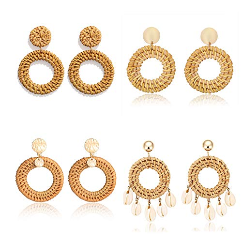 Weave Straw Double Disc Drop Earrings Boho Rattan Dangle Statement Earrings (4 pairs) ()