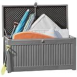 Garden Gear Plastic Garden Storage Box Chest Container, Weatherproof with Durable & Lockable Lid (270L Sit On Lid Grey)