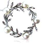 Milano Jewelers LARGE .40CT DIAMOND PEARL 14KT WHITE GOLD LEAF PENDANT PIN BROOCH #25493
