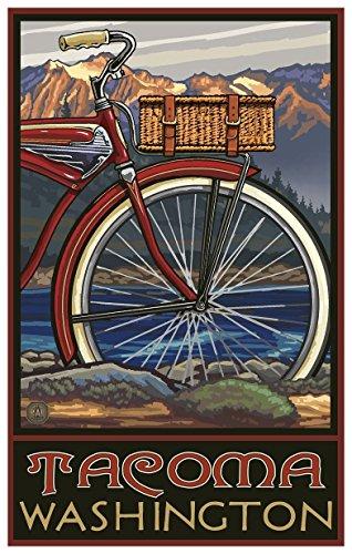 Tacoma Washington Fat Tire Bike Travel Art Print Poster by Paul A. Lanquist (12