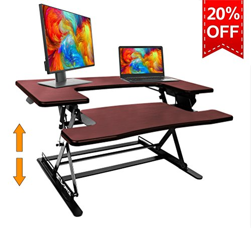 Standing Desk Preassembled Height Adjustable Sit Stand Up Desk Riser Stand Fit Two Monitors Adjustable Standing Desk Converter Topper Black 36'' x 25'' By SITA OFFICE (Cherry) by SITA-OFFICE