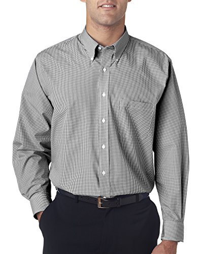 Van Heusen V0225 Mens Long-Sleeve Yard-Dyed Gingham Check - Black, Extra (Van Heusen Fitted Dress Shirts)