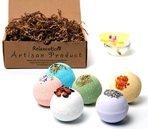 Bath Bombs Gift Set Large 4.5 oz/each – Luxury Organic  Natural Ingredients – Safe for Kids – Relaxing Epsom Himalayan  Dead Sea Salts,Lush Essentia…