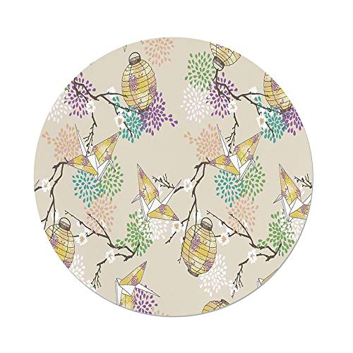 iPrint Polyester Round Tablecloth,Lantern,Colorful Origami Cranes Paper Lanterns Branches Flowers Culture Decorative,Lilac Pink Beige Yellow,Dining Room Kitchen Picnic Table Cloth Cover ()