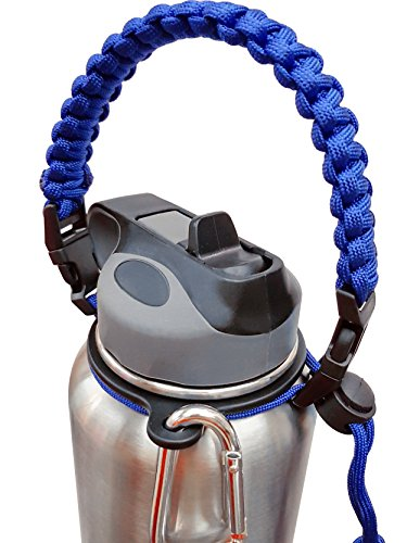 Paracord Handle for Hydro Flask, Unique Security Design, Fits Hydro Flask, Nalgene Most Wide Mouth Water Bottles, Camping Outdoor Sports Water Bottle Carrier Holder (blue)