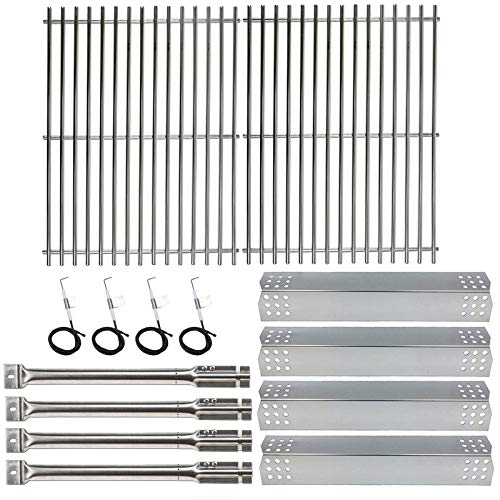 Hisencn Repair Kit Stainless Steel Burners, Stainless Heat Plates Tent Shield and Cooking Grids Grill Grate Replacement Parts for Master Forge 1010037 Gas Grill Models (Parts For Master Forge Grill)