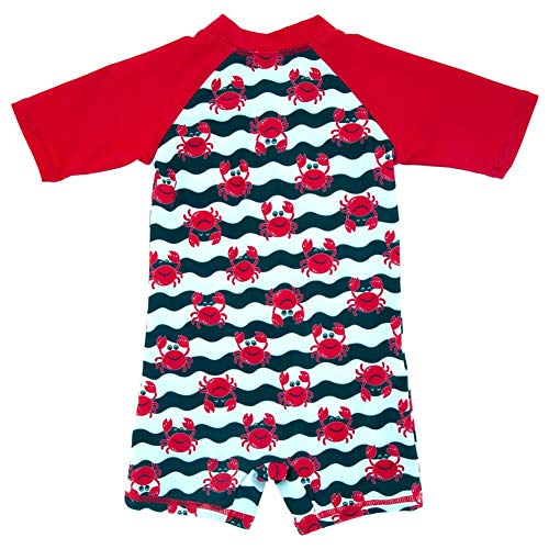 - Baby Boys Toddler One-Piece UPF 50+ Sun Protection Swimsuit Lovely Cartoon Prints Bathing Suit Swimwear Hong 3T Red