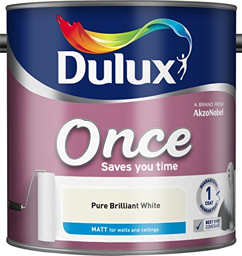 Dulux Once Matt Emulsion Paint For Walls And Ceilings - Pure Brilliant White 2.5L