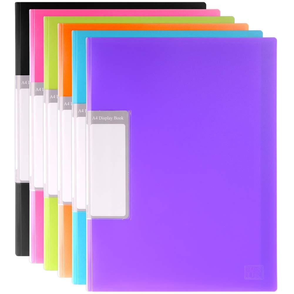 H & S 6display cartelle A4a 30tasche, presentazione cartelle portadocumenti, colori assortiti blu nero verde arancione H&S Alliance UK Ltd