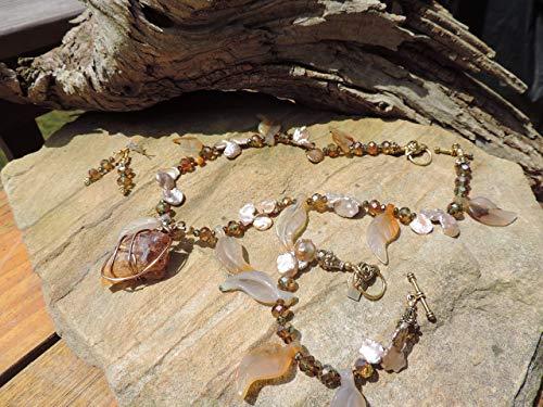 Handmade Jewelry Set - Arkansas Quartz Pendant & Carved Carnelian Leaves Necklace, Bracelet & Earrings
