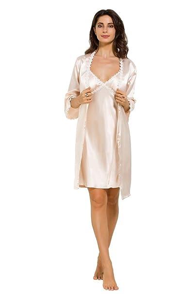 NEIYI Logeliy Batas de Encaje Ropa de Dormir Floral de Dormir Camisón de Mujer de Dos Piezas Conjuntos de Pijamas de Seda Camisón Sexy para Mujer, ...