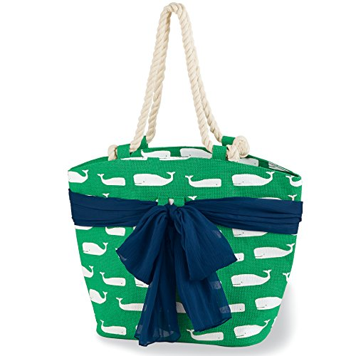Mud Pie Women's Fashion Beachcomber Sea Print Sarong-Along Tote Bag (Green Whale)