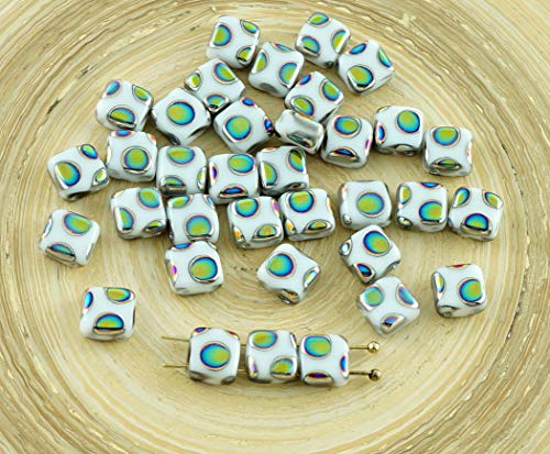 (20pcs Peacock Dotted Chalk White Tile Czech Glass Beads 2 Two Hole Flat Square 6mm x 6mm)