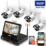 [All-in-One&Expandable System]Wireless Security Camera System,SMONET 8CH 960P Video Security System with 1TB HDD,4pcs 960P Bullet IP Cameras,Built-in 10.1 inches Monitor,P2P,Super Night Vision