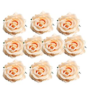 Fityle 10 Pieces Silk Artificial Rose Heads Flowers Head for Wedding Decoration DIY Wreath Gift Box Scrapbooking Craft Fake Flowers 50