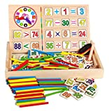 HenMerry Children Wooden Mathematics Game Stick Counting Rods Math Numbers Arithmatics Clock Kids Educational Toys Sets
