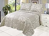 Microfiber Quilt set,prewashed, preshrunk. Hypoallergenic, Print pattern Stitched with Threads, King bed-cover with 2shams , AS coverlet bedcover