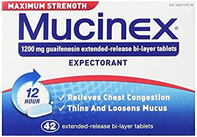Mucinex Maximum Strength 12-Hour Chest Congestion Expectorant Tablets, 42 Count , Pack of 2
