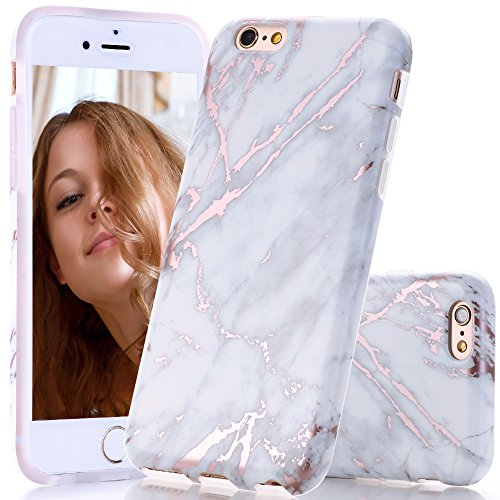 BAISRKE Shiny Rose Gold White Grey Marble Design Slim Flexible Soft Silicone Bumper Shockproof Gel TPU Rubber Glossy Cover Phone Case Compatible with iPhone 6 Plus / 6s Plus [5.5 inch]