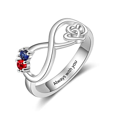 94b9b7a2378a2 Molywoo Personalized Infinity Heart Ring with 2 Simulated Birthstone Rings  for Women Sister Rings Friendship Rings for Women Best Friend Forever Rings