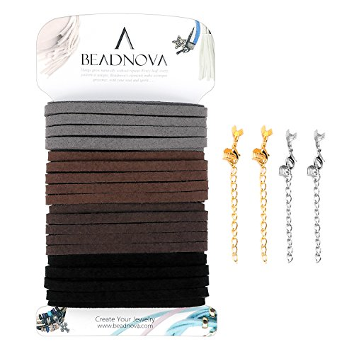 BEADNOVA 5mm Flat Leather Cord Faux Suede Cord Starter Kit for Jewelry Making with 4pcs Crimp Extender Chains (Mix 4 Classic Earth Tone Colors Each 3.3 - Match Leather Tone