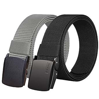 Fairwin Nylon Tactical Web Belt with YKK Plastic Buckle, Breathable Outdoor Canvas Webbing Belt for Men (Black&Grey)