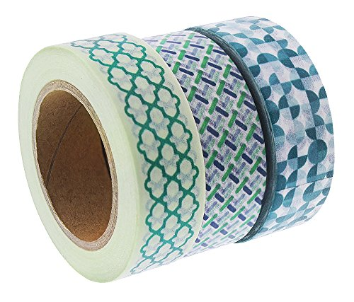 Washi Tape Set - 3-Pack Geometric Decorative Masking Tapes Rolls - Craft Washi Paper Tape Roll, Ideal for DIY Crafts, Gift Wrapping and Scrapbook - Green, 0.59 Inch x 32.8 -