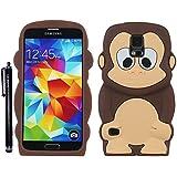 Hunye 3D Silikon Schutzhülle Gel Tasche für Samsung Galaxy S5 Hülle Etui Affen Design braun Case Schale Cover mit Stylus