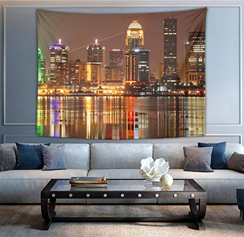 NiYoung Louisville Skyline Tapestries, Boho Wall Tapestry Wall Hanging Tapestry - Home Indian Decor Retro Art Living Room Bedroom Dorm Room -