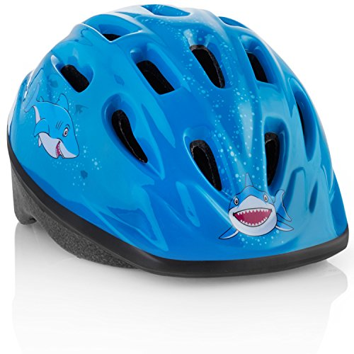 KIDS Bike Helmet [ Blue Shark ] – Adjustable from Toddler to Youth Size, Ages 3-7 - Durable Kid Bicycle Helmets with Fun Aquatic Design Boys will LOVE - CSPC Certified - FunWave