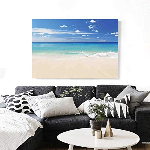 Ocean Wall Art Canvas Prints Tropical Haven Style Sandy Shore and Sea with Waves Escape to Paradise Theme Ready to Hang for Home Decorations Wall Decor 36