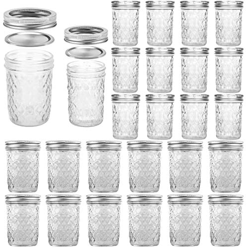 VERONES Mason Jars, 12 Pack 8 OZ Canning Jars With Regular Lids and Bands & 12 Pack 16 OZ Wide Mouth Mason Jars With Lids and Bands, Total 24 Pack-