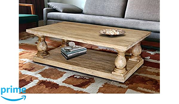 Amazon Casual Elements Rectangular Pedestal Coffee Table Rustic Mango Grey Wash Kitchen Dining