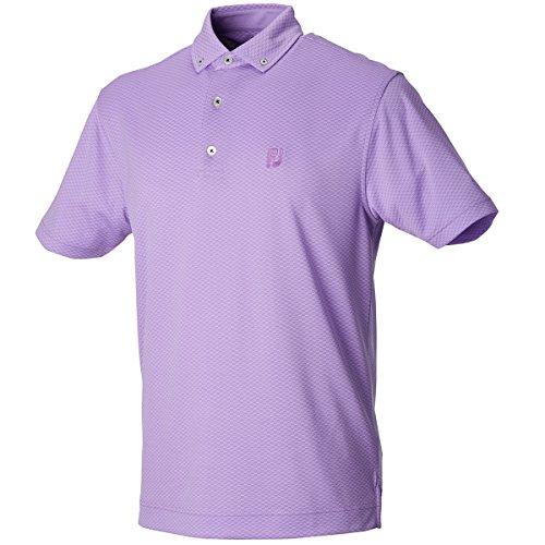 フットジョイ Foot Joy 半袖シャツ?ポロシャツ ストレッチドット ボタンダウン半袖ポロシャツ ラベンダー L