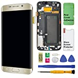 Display Touch Screen (AMOLED) Digitizer Assembly with Frame for Samsung Galaxy S6 Edge (5.1 inch) AT&T (G925A) / T-Mobile (G925T) / Global (G925F) (for Phone Repair) (Gold Platinum)