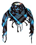 Premium Star Pattern Shemagh Head Neck Scarf - Turquoise Blue/Black