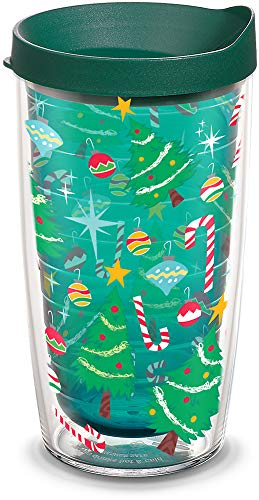 Tervis 1308188 Christmas Tree Candy Cane Insulated Tumbler with Wrap and Hunter Green Lid, 16oz, Emerald