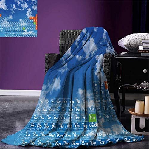 Anniutwo Science Summer Blanket Clear Open Sky with Clouds and Chemistry Table for Kids Smart Student Print Beach Blue and White W80 x L60 inch