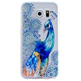 Happy Hours - Ultra Thin Emboss Frosted TPU Case for Samsung Galaxy Grand Neo Plus I9060 / Art Pattern Colorful Hybrid Fancy Protective Cover Shell(Blue Peacock)