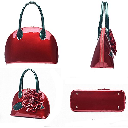Moonwind Handles Handbags Bags Purses Bowler Paint Flower Briefcase Shoulder Of For Bags Totes Women With Coat Burgundy Bag FrFpwq