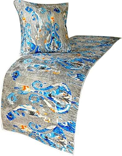 青ランナー、45 x 215 cmデザイナーCAキングベッドスカーフ青ベルベット衾 Paisley Peacock B07CPYHLVV CA キング 45_x_215_cm ベッドランナー|B5. 象牙/グレー/青/オレンジ B5. 象牙/グレー/青/オレンジ CA キング 45_x_215_cm ベッドランナー