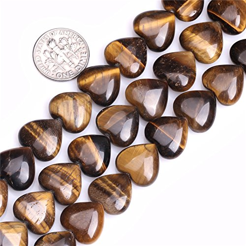 Tiger Eye Beads for Jewelry Making Natural Gemstone Semi Precious 14mm Heart Shape 15