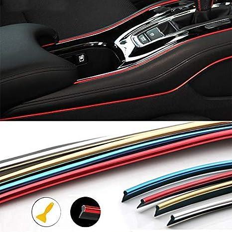ruban adh/ésif universel 10 m en ABS rouge avec outil SUNWAN Bande de moulage pour int/érieur de voiture