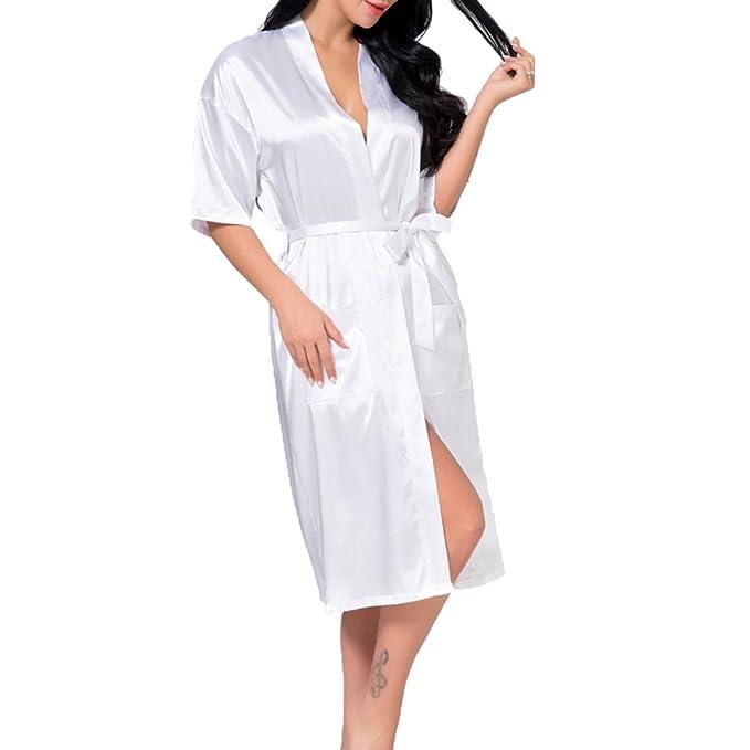 Juleya Babydoll Lencería Camisón Mujeres Sexy Long Faux Seda Kimono Bata Bata de Baño: Amazon.es: Ropa y accesorios