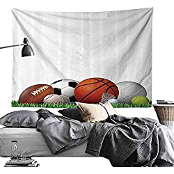 Homrkey Smooth and Smooth Tapestry Sports Decor Collection Sports Equipment on Grass Summertime Outdoor Activities Fitness Exercise Design Hippie Tapestry W70 x L59 Green Orange White